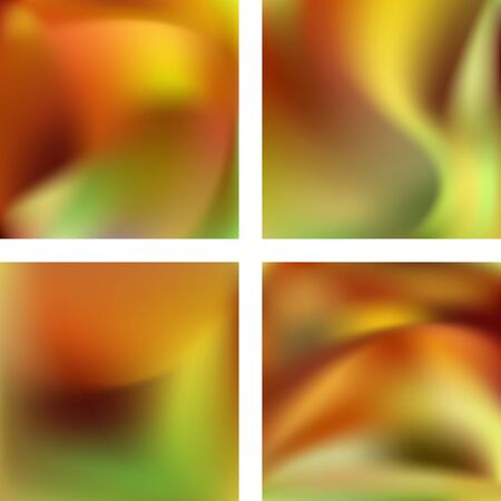Set with abstract blurred backgrounds. Vector illustration. Modern geometrical backdrop. Abstract template. Yellow, orange, green colors.