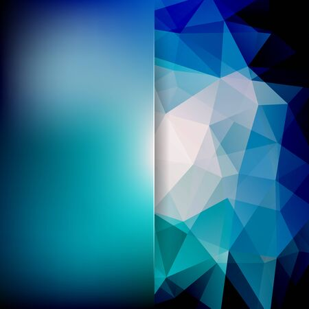 Abstract mosaic background. Blur background. Triangle geometric background. Design elements. Vector illustration. Blue, white colors.