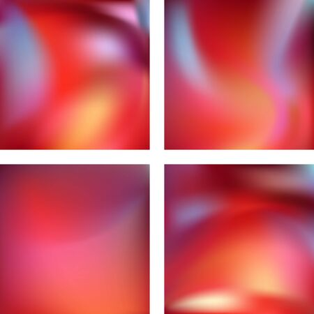 Set with abstract blurred backgrounds. Vector illustration. Modern geometrical backdrop. Abstract template. Red, pink, orange colors Vectores