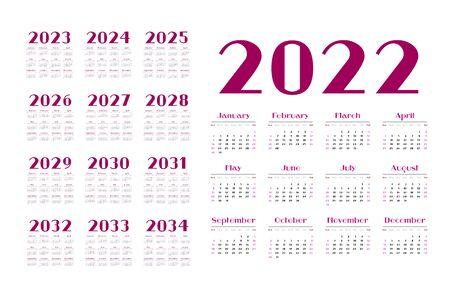 English calendar for years 2022-2034, week starts on Sunday Vettoriali