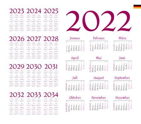 German Calendar for 2022-2034. Week starts on Monday