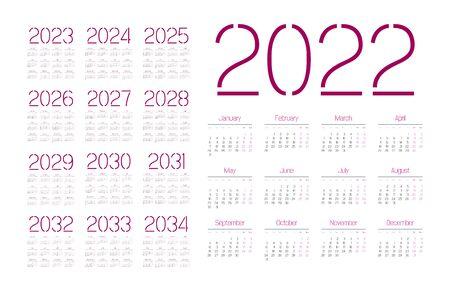 Simple calendar 2022 - 2033 on white background. Vector illustration