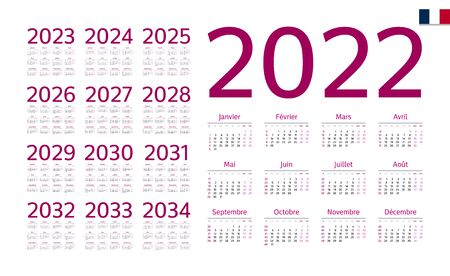 French Calendar for 2022-2034. Week starts on Monday Vettoriali