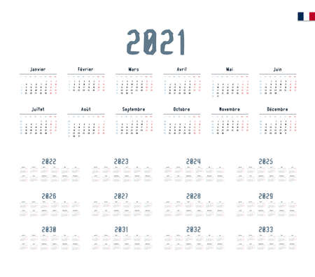 French Calendar for 2021-2033. Week starts on Monday