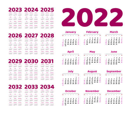English calendar for years 2022-2034, week starts on Sunday Foto de archivo