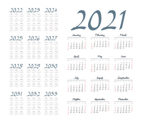 English calendar for years 2021-2033, week starts on Sunday Foto de archivo