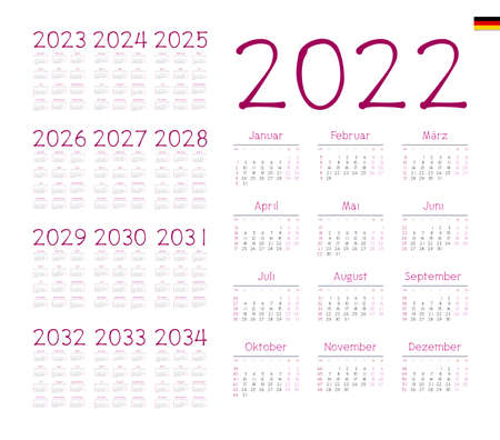 German Calendar for 2022-2034. Week starts on Monday