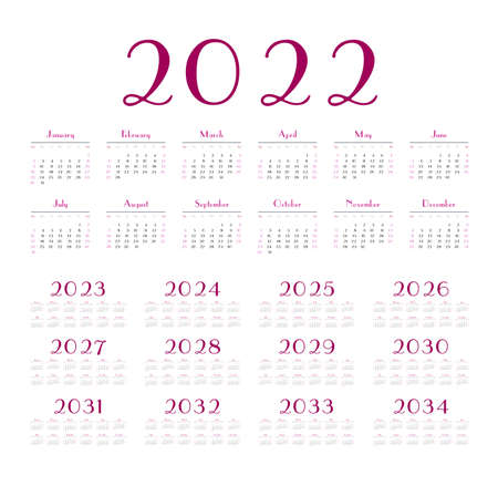 English calendar for years 2022-2034, week starts on Sunday Banque d'images