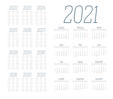 English calendar for years 2021-2033, week starts on Sunday Banque d'images