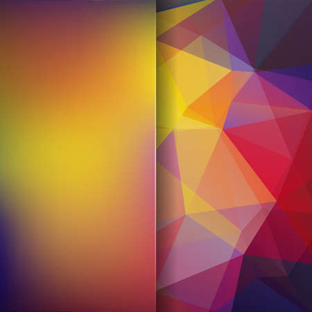 Background made of yellow, red, purple triangles. Square composition with geometric shapes and blur element. Eps 10