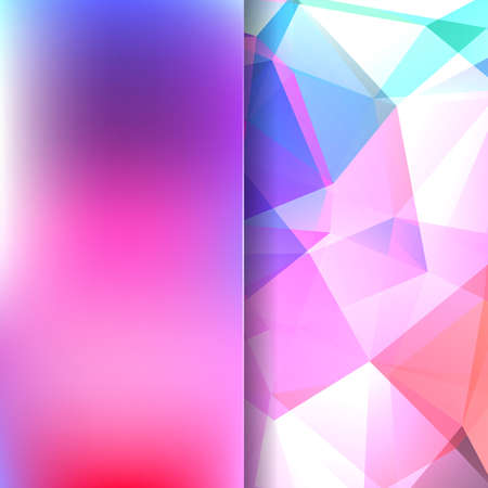 Background made of pink, white, purple triangles. Square composition with geometric shapes and blur element. Eps 10