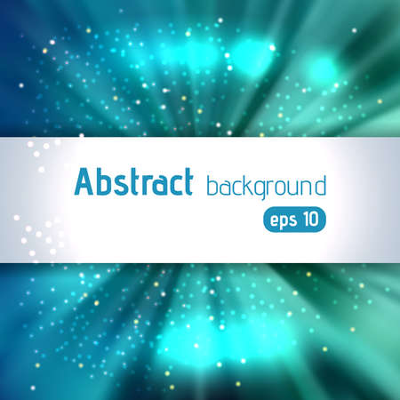 Rays background with place for text. Abstract motion blur background with power explosion. Vector illustration. Blue, green colors. Vectores