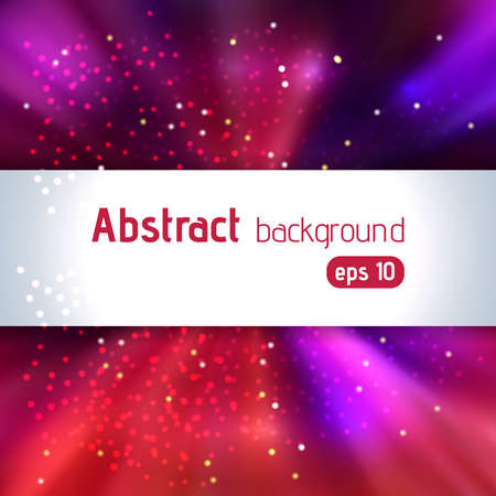 Vector illustration of abstract background with blurred magic light rays, vector illustration. Purple, red colors.