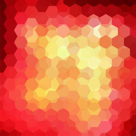 Background made of yellow, red hexagons. Square composition with geometric shapes. Vectores