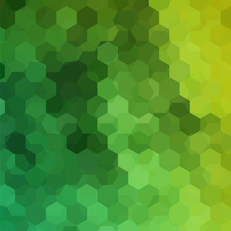 Background made of green hexagons. Square composition with geometric shapes.