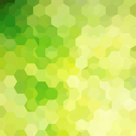 Background of yellow, green geometric shapes.