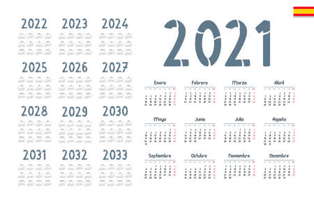 Spanish calendar 2021 - 2033 on white background. Start on monday. Vectores
