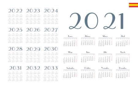 Spanish calendar 2021 - 2033 on white background. Start on monday. Vector illustration