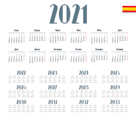 Spanish calendar 2021 - 2033 on white background. Start on monday. Vector illustration Foto de archivo - 160158093