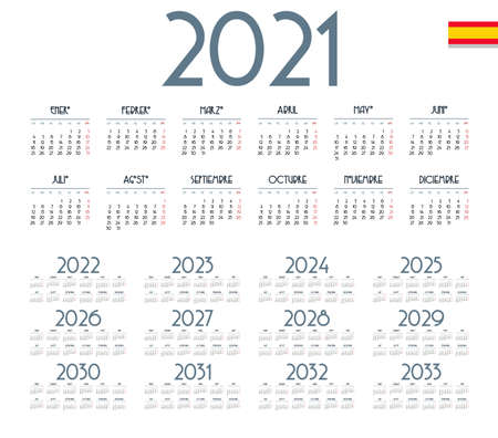Spanish calendar 2021 - 2033 on white background. Start on monday. Vector illustration Foto de archivo - 160158098