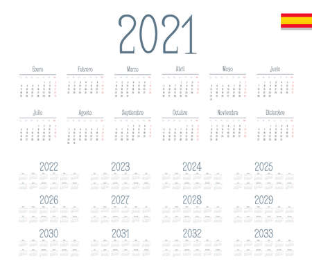 Spanish calendar 2021 - 2033 on white background. Start on monday. Vector illustration