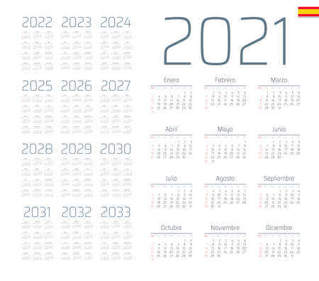 Spanish calendar 2021 - 2033 on white background, week starts on Sunday Foto de archivo - 163480351