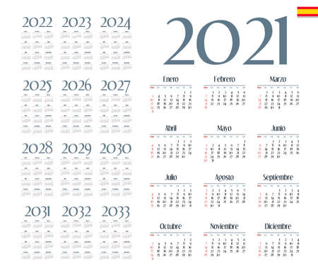 Spanish calendar 2021 - 2033 on white background, week starts on Sunday