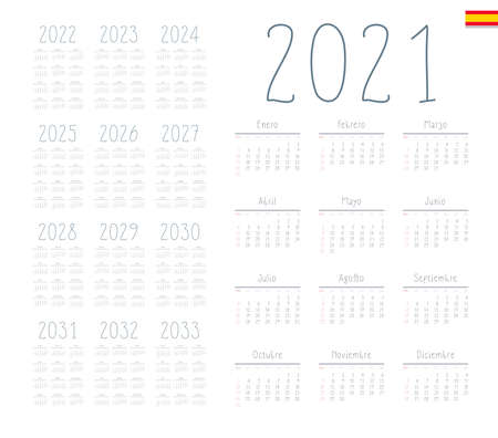 Spanish calendar 2021 - 2033 on white background, week starts on Sunday Foto de archivo - 163480469