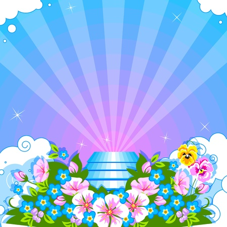 Stairway to heaven,  the flowers and clouds. Vector