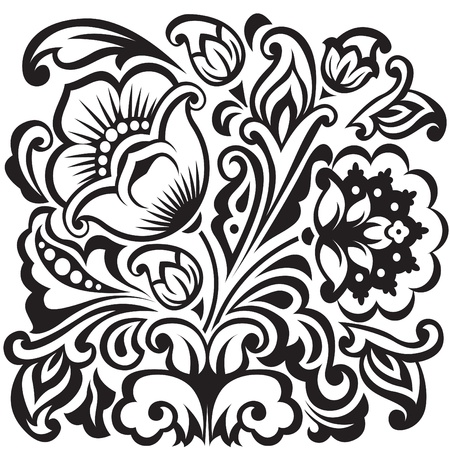 white flower: Stylized floral design.