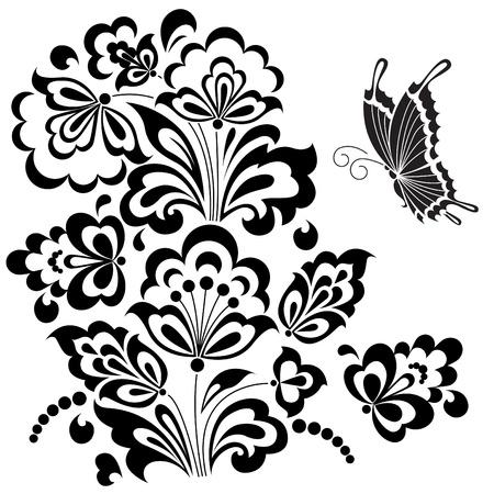 Stylizovaný květinový design. Ilustrace