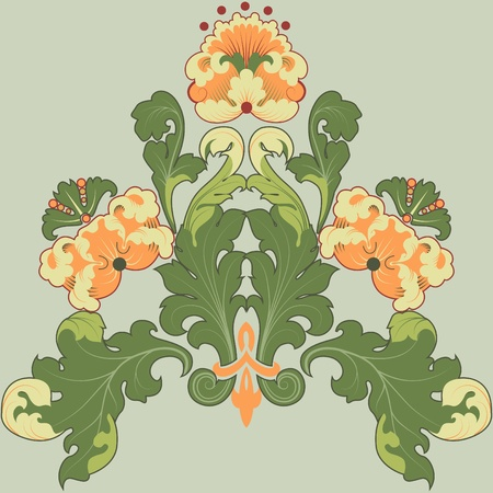 Floral designs in antique style. Can be repainted any color. Vector