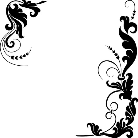 black and white plant: Stylized floral design.