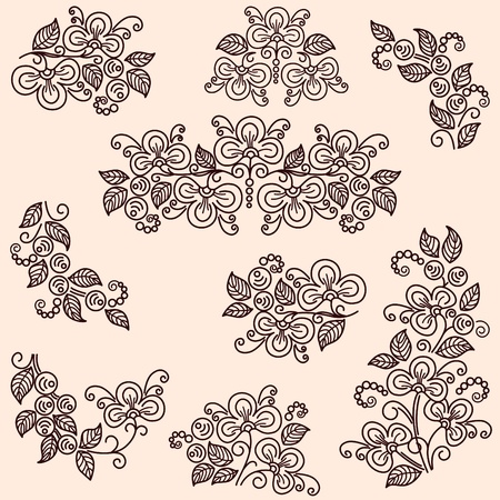 Set of flowering branches. Decorative stylization. Stock Vector - 11650708