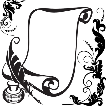 Scroll pen, ink  and  stylized  floral  pattern. Illustration