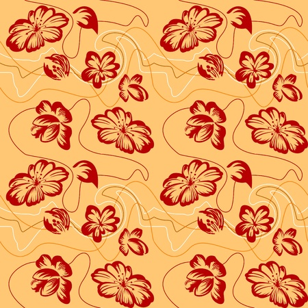 Floral  ornament. Sketch of the silhouette. Seamless. Vector
