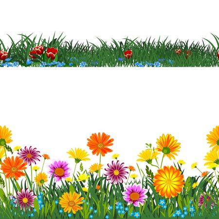 flower garden: Seamless horizontally.