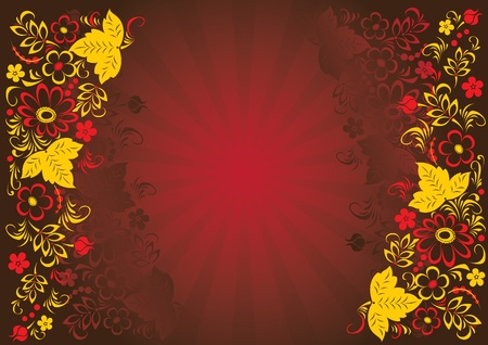 russian culture: Stylized floral designs. Illustration