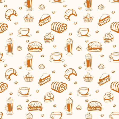 Seamless. Background with coffee and pastries. Vector