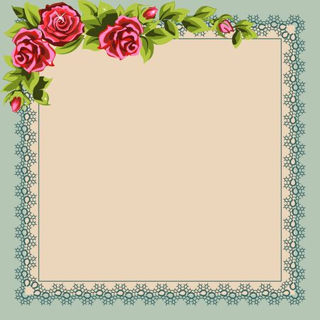 Vintage napkin  and a bouquet of roses. Place for your  text. Vector