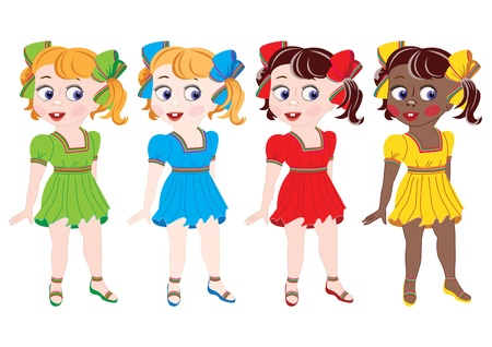 Collection of girls of different nationalities in dresses of different colour.