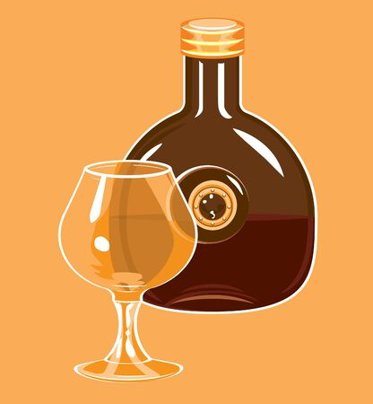 brandy glass: Glass and  bottle,  half  filled with brandy.