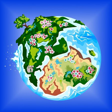 environmentally: Environmentally  blooming  earth  in space.
