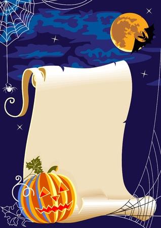 calabaza caricatura: Ilustraci�n para Halloween - un rollo de pergamino, calabazas, telas de ara�a.