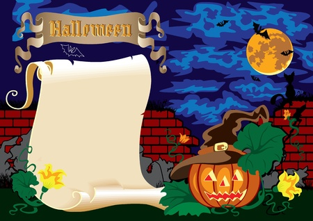 Illustration for Halloween. Night, a pumpkin under the ruined wall. Vector
