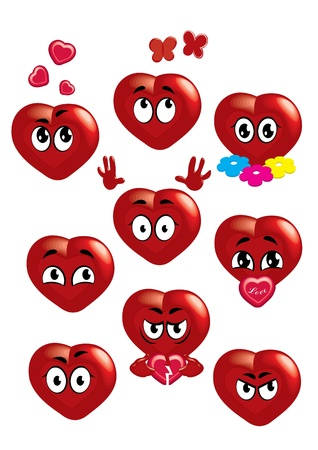 Collection of Hearts with different facial expressions. Vector