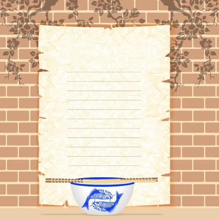 Menú en papel de arroz, una taza, los palillos. Foto de archivo - 11650753