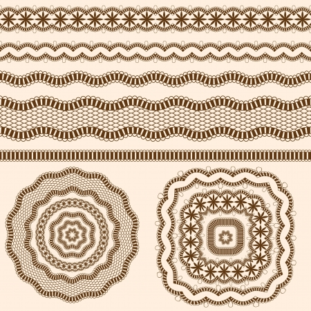 textile image: Ribbons and  rosettes  of lace. Seamless band.