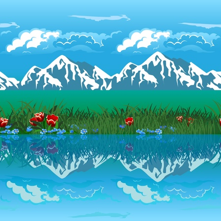 water's edge: Landscape -  mountains  in the snow, clouds, lake. Seamless  horizontally. Illustration