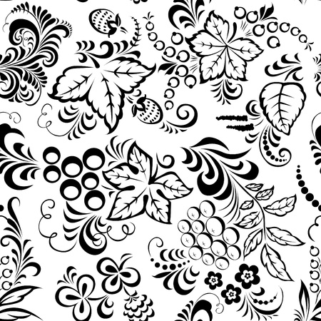 currants: Stylized floral design. Seamless.